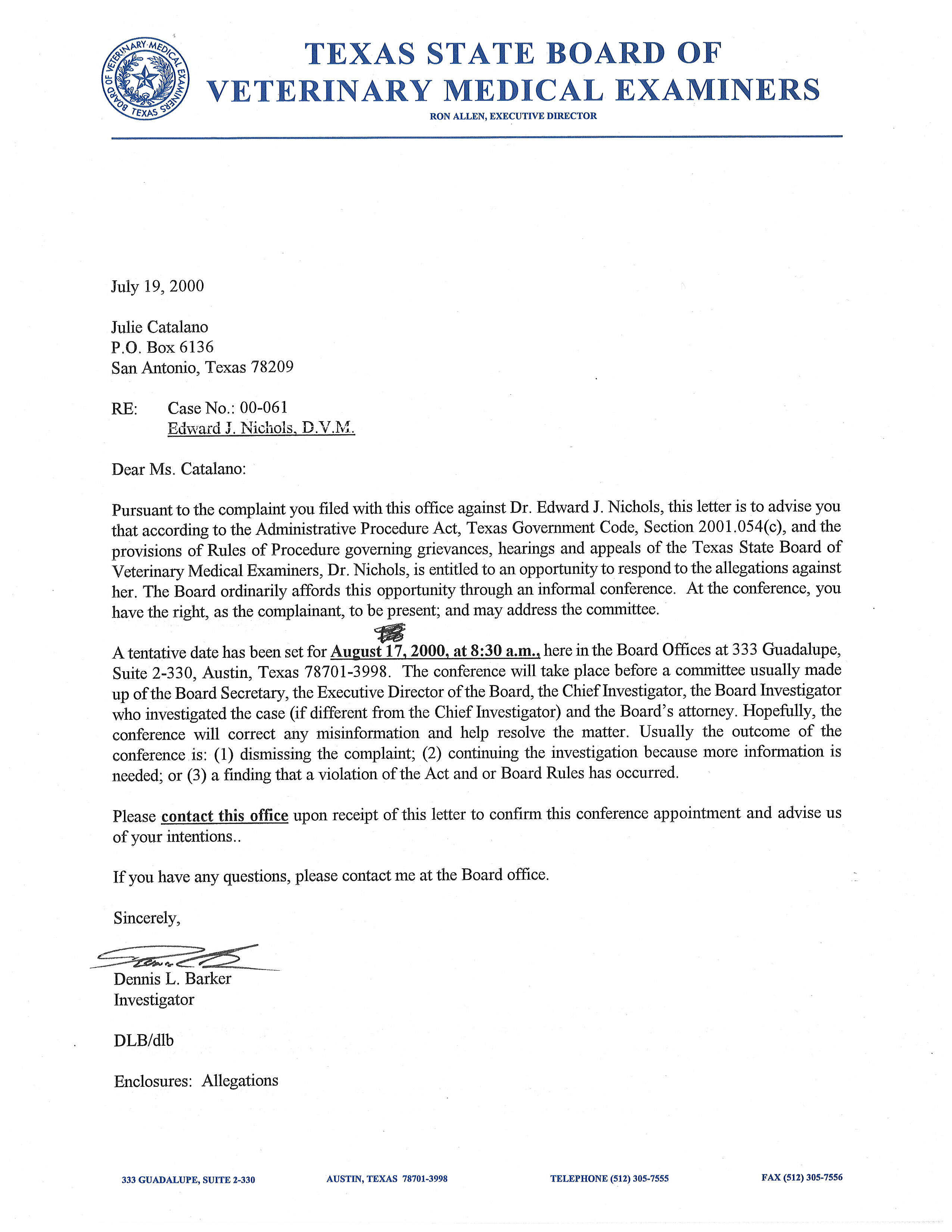 July 19 2000 letter to julie catalano from tsbvme with allegations